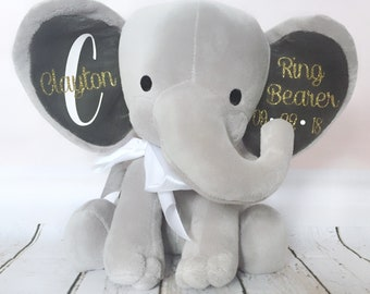 Personalized Elephant, Ring Bearer Gift, Stuffed Animal, Personalized Ring Bearer Present, Wedding Gift