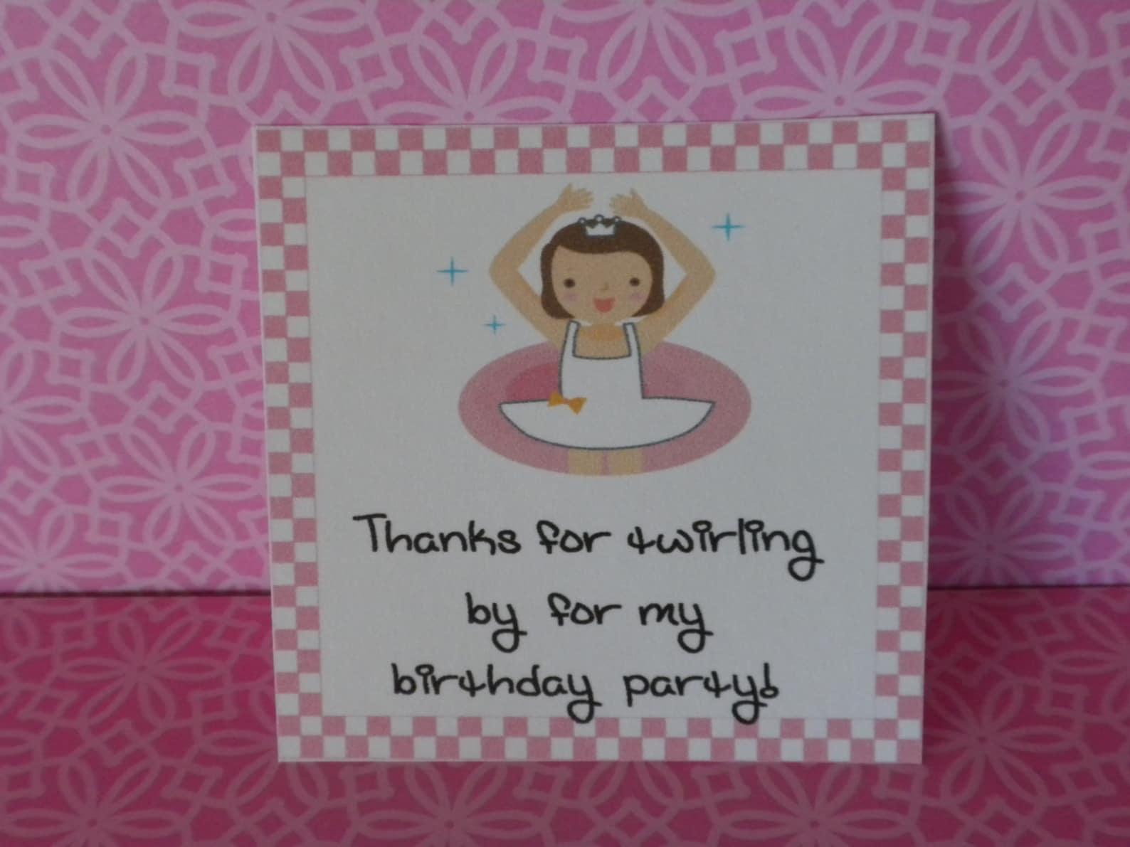 printable ballet theme small square favor bag tag