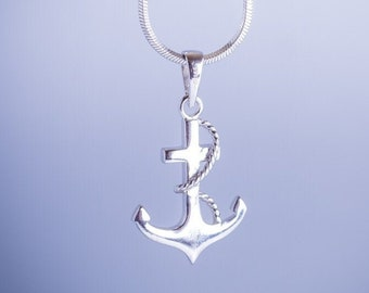Sterling Silver Anchor Necklace Refuse To Sink Anchor Nautical Jewelry Coastal Jewelry Sailing Summer Jewelry Nautical Necklace