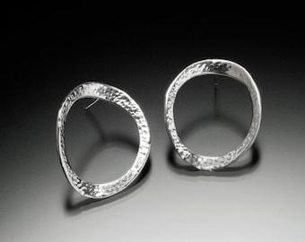 Concave Hammered Hoop Earrings