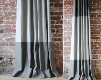 "84""L - Martha Panel - custom curtains - 28 color options - striped panels - color block panels"