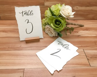 Black and White Table Number Calligraphy, Table Number Calligraphy, Hand lettered Table Numbers