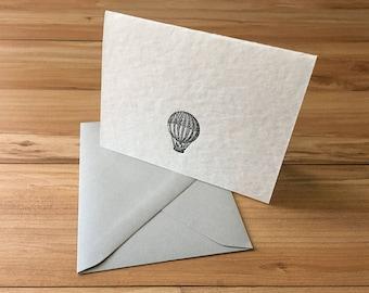 Vintage Hot Air Balloon Letterpress Single Card