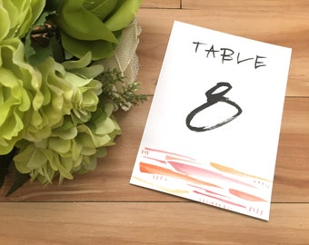 Watercolor Detailed Table Number Calligraphy, Table Number Calligraphy, Hand lettered Table Numbers