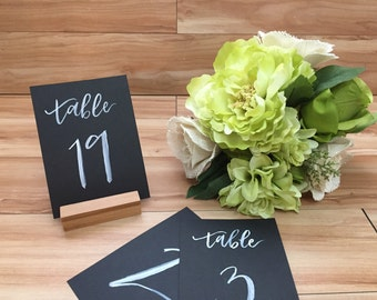 Black Table Number Calligraphy, Table Number Calligraphy, Hand lettered Table Numbers