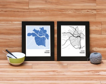 Richmond Virginia City Map Print