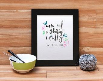 8x10 Custom Handlettered Calligraphy Quote | Lyrics | Verse