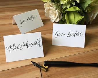 Custom Pointed Pen Calligraphy Place Cards, Calligraphy Escort Cards