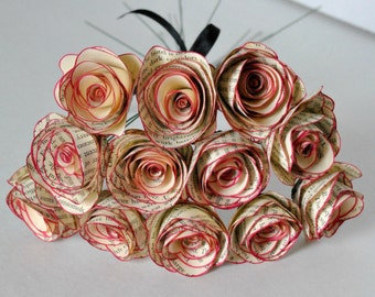 One Dozen Vintage Berry color Trim Paper Flowers Stemmed Paper Roses Decorations