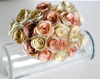 Two Dozen - 24 - Vintage Paper Flowers - Stemmed Paper Roses - Home or Party Decorations