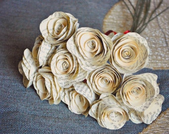One Dozen Stemmed Paper Flowers - 12 Piece Vintage Book Paper Flowers - Stemmed Paper Roses - Home or Party Decorations