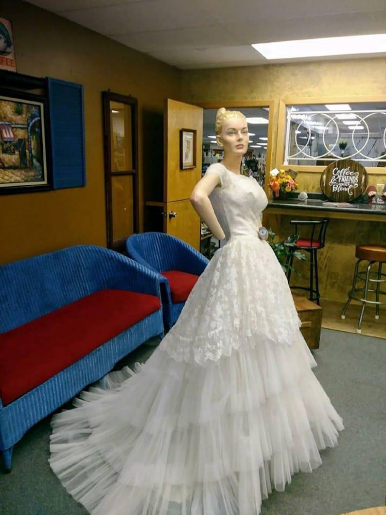 08fd0ed9c9fd 1950's vintage Wedding dress long Ruffled Tulle Designer | Etsy