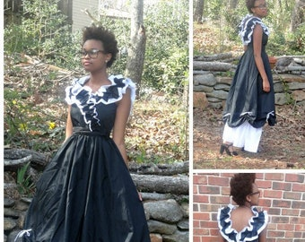 Black And White Wedding Dress Etsy