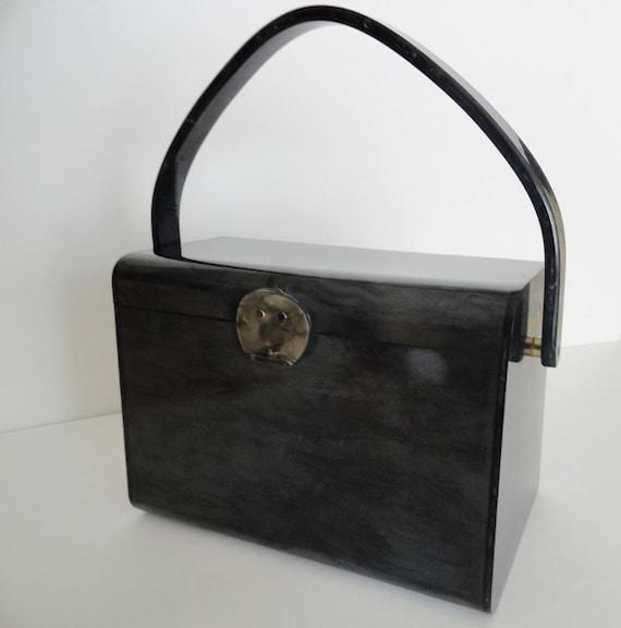 Vintage Handbags|GREY VINTAGE LUCITE Purse Handbag
