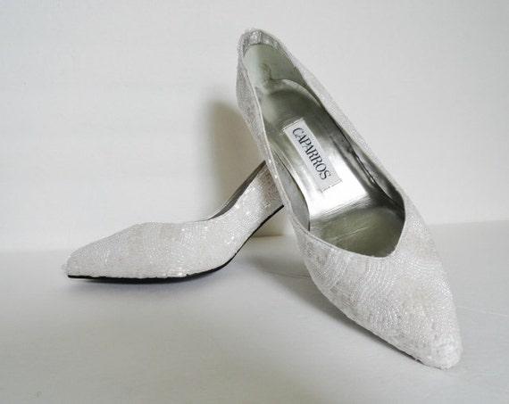 Vintage Shoes|WEDDING CAPARROS STARLIGHT White Bea