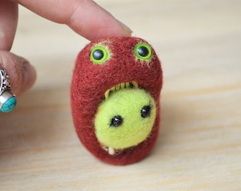 Needle Felt Zombie Monster Brooch, Quirky Felt Brooch Pin With Monster Pheeples