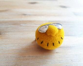 Sunny Yellow Felt Brooch, Happy Yellow Needle Felt Monster Pin with Sunglasses