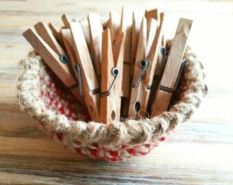 Crochet Storage Jewellery Basket, Handmade Decorative Pot, Sweet Bowl, Red and Twine Medium Storage