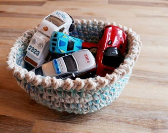 Blue Crochet String Storage Basket, Wool and String Bowl, Halloween Sweet Bowl