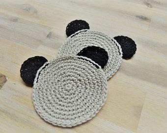 Grey Koala Crochet Bear Coasters, Set of 2 Cute Grey Teddy Bear, Teddy Bear's Picnic, Crocheted 100% Cotton Made to Order Set