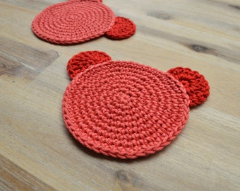 Red Crochet Teddy Coaster - Cute Coffee Morning, Fun Character Coaster, 100% Red Cotton Teddy Bear Coaster Set of 2 - Made To Order