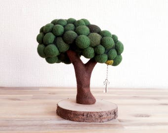 Needle Felted Tree Sculpture with Key, Love Keepsake, Lost Key, Key To My Heart