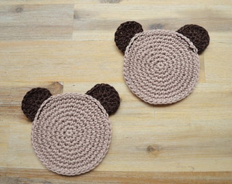 Brown Crochet Teddy Bear Coaster, Cute Brown Bear, Teddy Bear's Picnic Coasters, Crocheted 100% Cotton, Set of 2 Made to Order