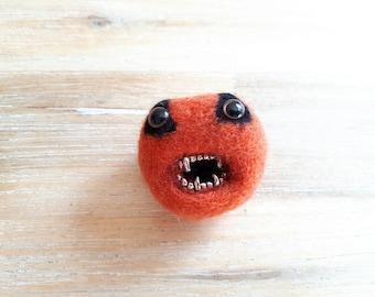 Creepy Halloween Pumpkin Brooch - Felt Brooch Needle Felted Merino Wool Orange Pumpkin Pheeples Pin with Teeth