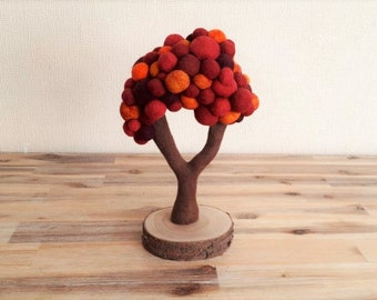 Needle felted Autumn Tree, Felt Fall Sculpture, Oranges, Browns and Reds Merino Wool