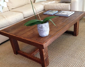 Large Rustic Pi Coffee Table Made From Reclaimed New Orleans Barge Board