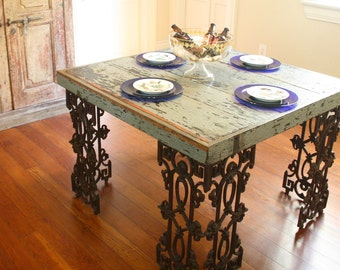 Superieur New Orleans Dining Room Table Made From Reclaimed Wood And Wrought Iron