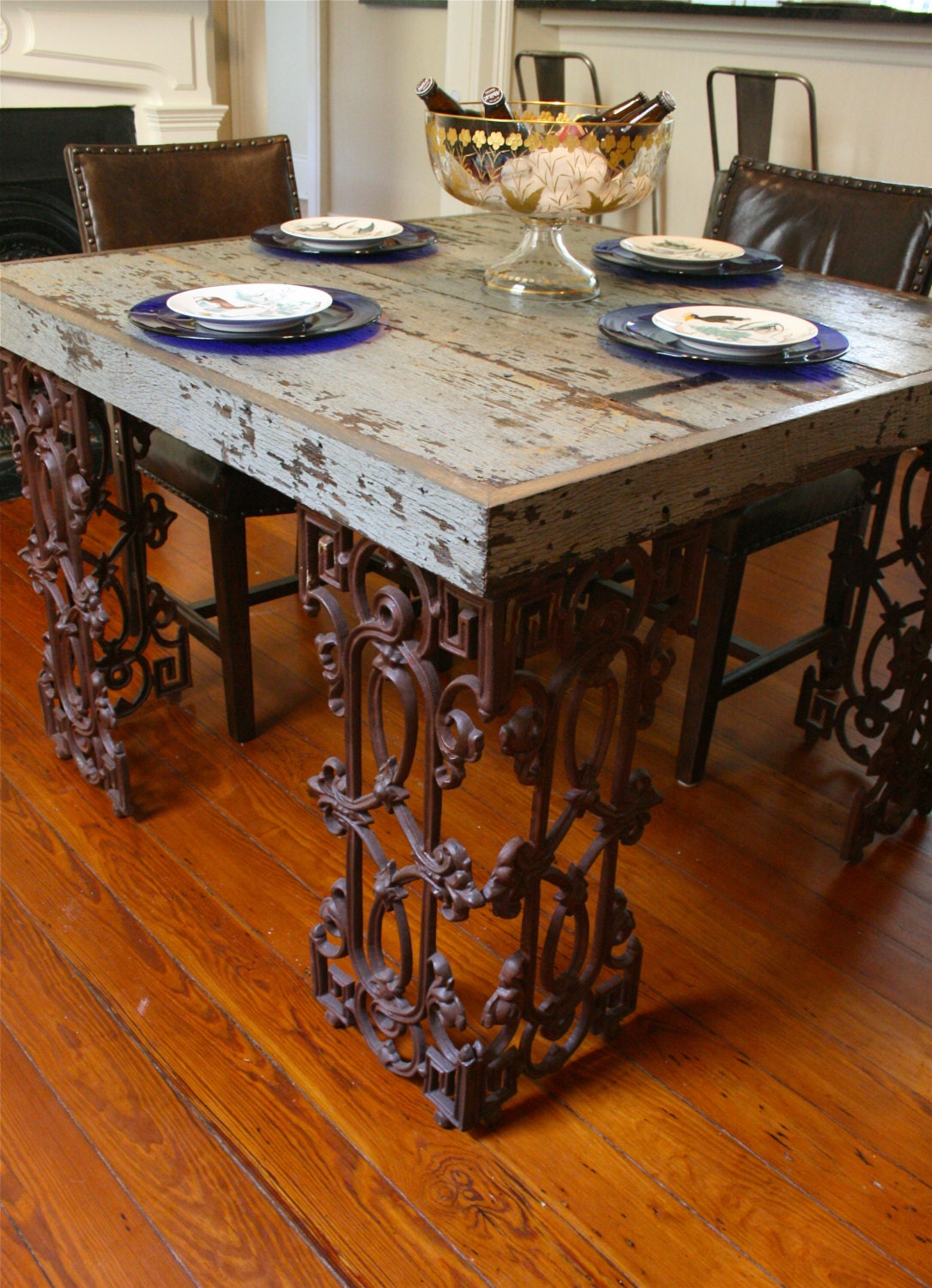 Take A Bite Out Of 24 Modern Dining Rooms: New Orleans Dining Room Table Made From Reclaimed Wood And