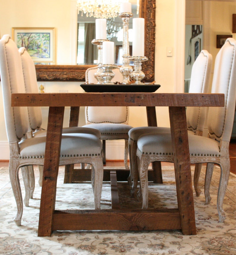 The Pecky Dining Table Farmhouse Style Made Reclaimed