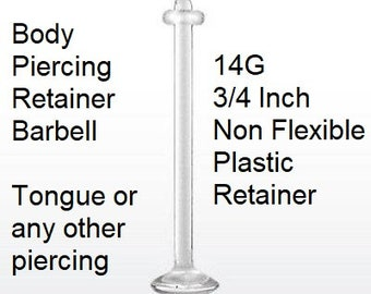 10G Retainer Plug for Pierced Body Jewelry 10G One Half Inch Straight Solid Post Clear Acrylic Non Flexible with 0-rings