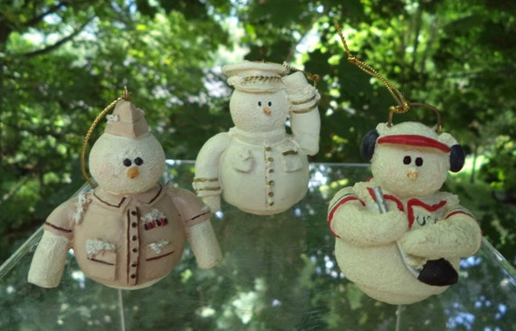 image 0 - Christmas Guy Ornaments Set Of Three Vintage Snowmen Soldier Etsy
