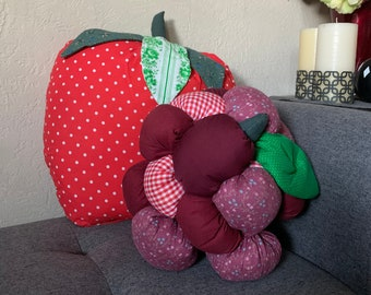 Fruit Pillow - Sweet Home Decor - Strawberry or Raspberry - Shaped Pillows - One of a Kind