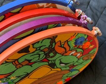 TMNT Teenage Mutant Ninja Turtles - Vintage Sheet Upcycled - Embroidery Hoop with Flowers