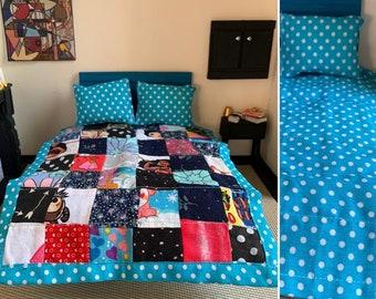 MINIATURE Quilt Sets - 1:12 Scale - Dollhouse - Pillows Included - Fabric Scrap Patchwork Quilt - Reversible Quilt