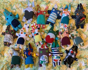 MINI Animal BUNNY Plushie - Fabric Scraps and Button Eyes - Keychain, Ornament, Mini-toy, Collect-them-all!