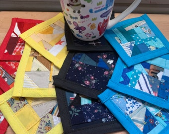 Mini Quilt Coaster - Set of THREE Mug Rugs - Washable and Handmade - Created out of Upcycled Fabric Scraps