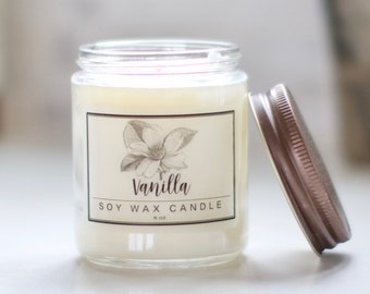 Vanilla Candle 8oz - Soy Candle, Scented Candle, Soy Candle Handmade - Essential Oil Candles, Herbal Candles, Candle Gift Set, Gifts for her