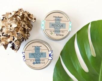 Salve Set, Muscle Rescue Balm and Skin Rescue Balm, Healing essential oil salves moisturizing salves solid lotion, little flower soap balms