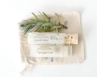 Mini Spa Gift Set - Handmade Natural Lip Balm - Bath Salt in drawstring bag, gifts under 10, gift for teacher, small gifts