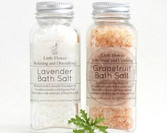 Set of 2 Bath Salts - Lavender & Pink Grapefruit, Himalayan Salt, Salt Scrub, Detoxifying Relaxing and uplifting Gift idea her, Epsom