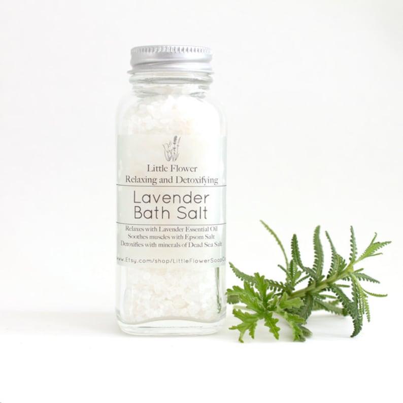 Lavender Bath Salts Lavender essential oil bath salt 4oz jar image 1