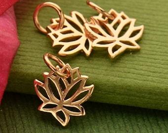 Mini Rose Gold Lotus Charm