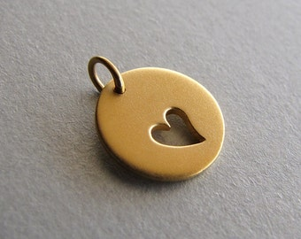 Gold Charm with Heart Cut Out