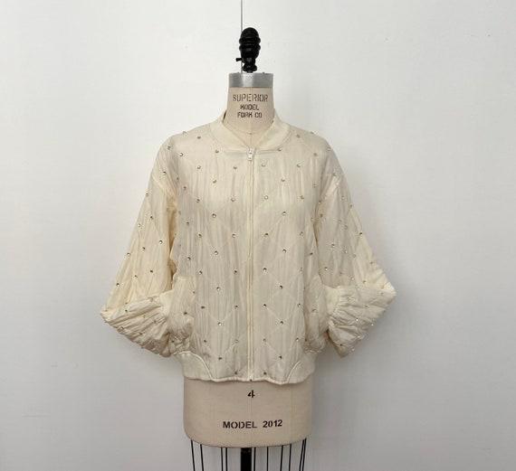 Vintage Beaded Silk Bomber Jacket | Studded Ivory