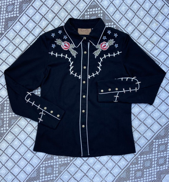 Vintage Scully Skeleton Embroidered Shirt Small