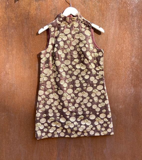 Vintage 60s Metallic Mini Dress / Mock Neck Mini D